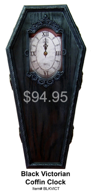 Black Victorian Coffin Clock