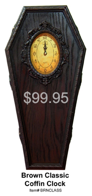Brown Classic Coffin Clock